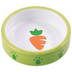 Миска керамическая для грызунов Зеленая с морковью, 70 мл