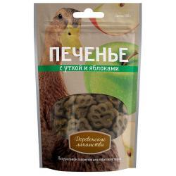 Лакомство для собак Печенье с уткой и яблоками, 100 г